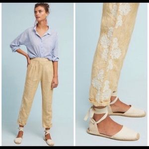 Anthropologie Floral Linen Yellow Pants✨